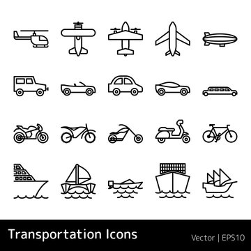 Set Of Transportation Icons isolated