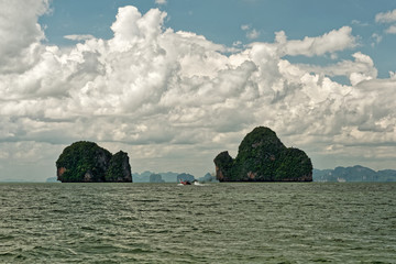 """Thailand - Ao Phang-nga  National Park, consists of an area of the Andaman Sea studded with numerous limestone tower karst islands, best known is Khao Phing Kan, called """"James Bond Island"""""""