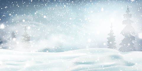 Fotomurales - Christmas, Snowy Woodland landscape. Holiday winter landscape for Merry Christmas with Snowstorm, blizzard, firs, coniferous forest, snow, snowflakes. Christmas scene. Happy new year.