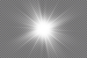 White glowing light explodes on a transparent background. with ray.  Transparent shining sun, bright flash.  Special lens flare light effect
