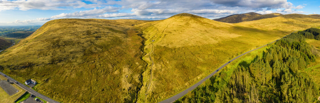 aerial panoramic view of sunset in mourne mountain area ,Northern Ireland