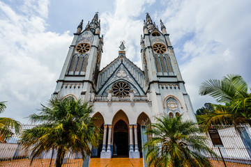 View on th white church in the colonial city of Jerico, Colombia