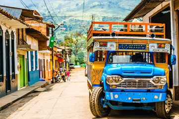 View on Typical colorful chicken bus near Jerico Antioquia, Colombia, South America