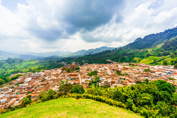 View on aerial view over the cityscape of the village of Jerico, Colombia