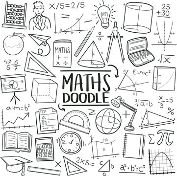Mathematics School Subject. Traditional Doodle Icons. Sketch Hand Made Design Vector Art.
