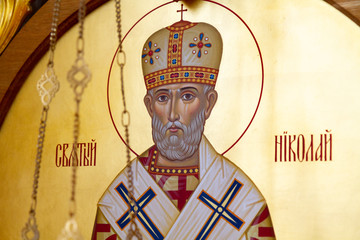 Vranov, Slovakia. 2019/8/22. Icon of Saint Nicholas of Myra (also known as Nicholas of Bari or Nicholas the Wonderworker). Convent of the Holy Trinity in Lomnica.
