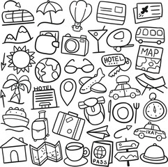 Travel Summer Icons. Traditional Doodle Drawn Sketch. Hand Made Design Vector.