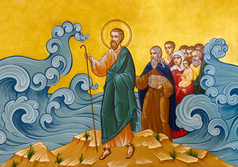 Secovska Polianka, Slovakia. 2019/8/22. The icon of The Crossing of the Red Sea – Moses leading Israelites through the Sea of Reeds. The Greek Catholic church of Saint Elijah.