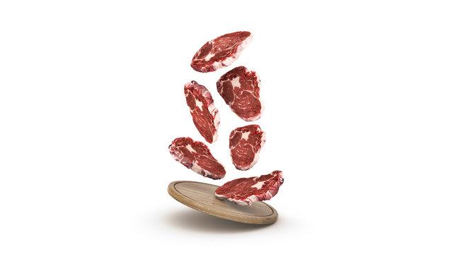 Flying raw steaks on wooden board. 3d rendering