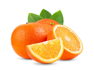 Ripe half of orange citrus fruit with leaf isolated on white background Full depth of field