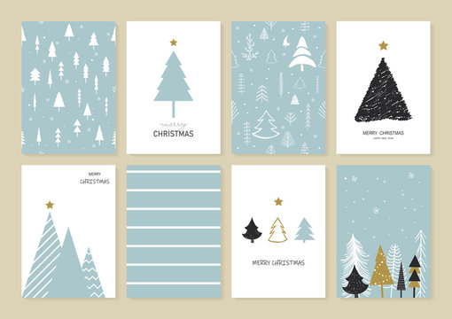 Set of Christmas and New Year's greeting card decorated with Christmas tree, Snowflakes, and Decorations. Cartoon and scribble style. Element holiday for your graphic. Vector illustration.