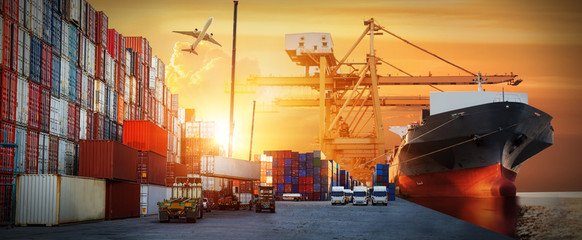 Wall Mural - Industrial Container Cargo freight ship, forklift handling container box loading for logistic import export and transport industry concept background