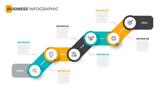 Business infographic template. Timeline with marketing icons and 6 steps, options. Startup concept. Vector illustration.