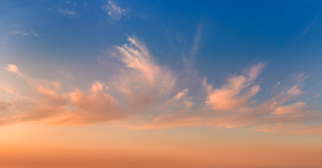 Morning Glory Gentle sunrise sundown sky and colorful light clouds, panoramic