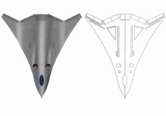 Futuristic fantasy stealth plane. Original digital illustration.