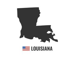 Louisiana map isolated on black background silhouette. Louisiana USA state. American flag. Vector illustration.