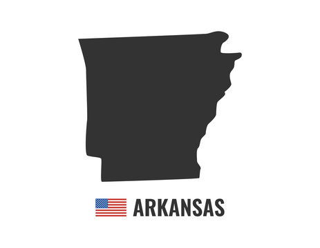 Arkansas map isolated on white background silhouette. Arkansas USA state. American flag. Vector illustration.