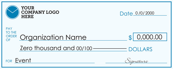 Presentation Check Template | Giant / Large Donor Check for Business