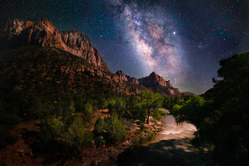Night scene of the Milky Way and stars at Zion National Park