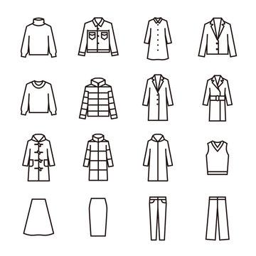 Clothing fashion icon set