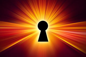 Keyhole with light grow bring for opening unlock power idea creative or data privacy concept