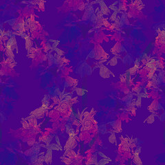 Seamless pattern with forest orchid.