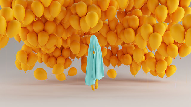Floating Ghost Spirit of a Child Gulf Blue Turquoise and Orange Holding a Orange Balloon with Lots of Balloons in the Background Front View 3d Illustration