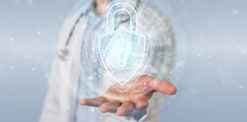 Scientist  using digital padlock security interface to protect datas 3D rendering