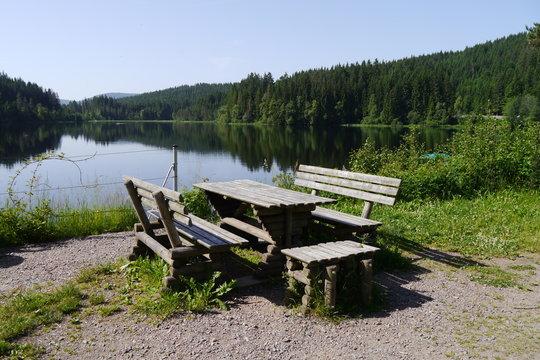 Sitzbänke mit Tisch vor Bergsee im Schwarzwald