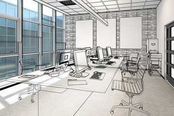 Common Computer Workplace Design (illustration) - 3d visualization
