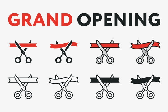 Grand Opening Ceremony Concept. Scissor Cut Red Ribbon. Flat Line Vector Icon Set.
