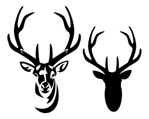 wild deer stag head with big antlers front view black and white vector silhouette and outline