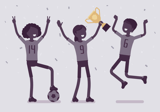 Football winner team with trophy. Young happy female athletes in uniform celebrating victory, group of players holding prize after successful sport match. Vector illustration with faceless characters