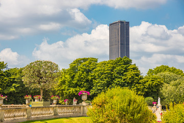 Montparnasse Tower seen from the Luxembourg Gardens in Paris France