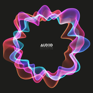 Vector 3d echo audio circular wavefrom spectrum. Abstract music waves oscillation graph. Futuristic sound wave visualization. Colorful glowing impulse pattern. Synthetic music technology sample.