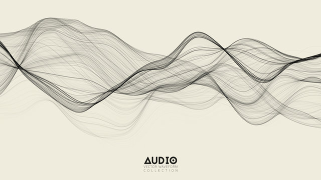Vector 3d echo audio wavefrom spectrum. Abstract music waves oscillation graph. Futuristic sound wave visualization. Black and white line impulse pattern. Synthetic music technology sample.