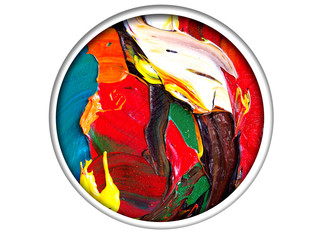 Circle colorful oil painting abstract background with texture.