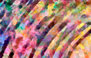 Abstract colorful stripes. Digital design painting impressionism artwork. Hand drawn artistic pattern. Modern art. Good for printed pictures, postcards, posters or wallpapers and textile printing.