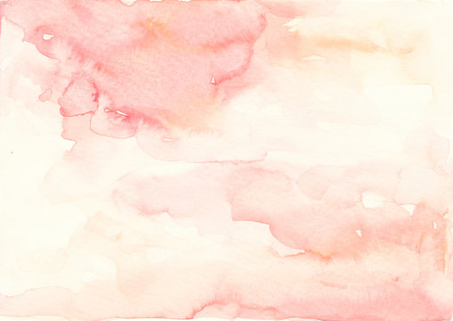 Pink and beige watercolor background Abstract splash texture Wedding Invitation background Baby shower backdrop