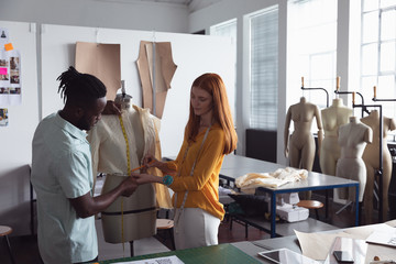 Young students working on a project at a fashion college