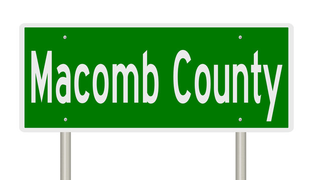 Rendering of a green highway sign for Macomb County Michigan