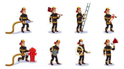 Firemen Characters with Rescue Equipment Vector.