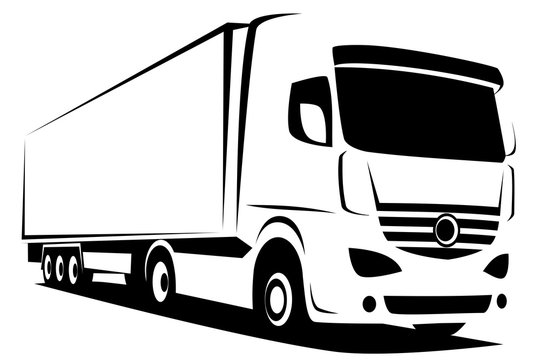 Dynamic vector illustration of an european truck with a trailer delivering goods