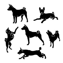 Set of African Basenji dog silhouettes - isolated vector illustration
