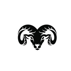 Rams goat head shield sport logo with black color and white background black logo icon designs vector illustration
