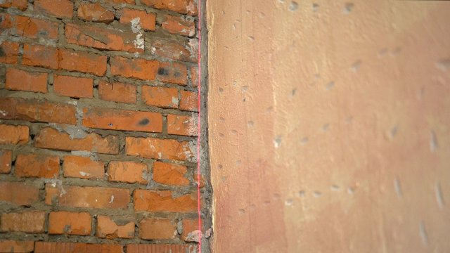 room before and after renovation or refurbishment. Wall before repair