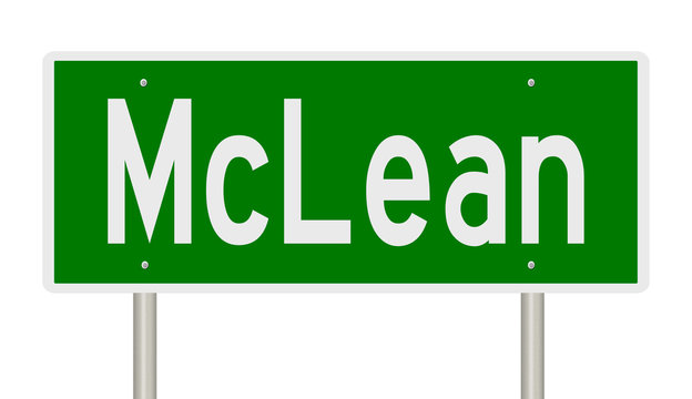 Rendering of a green highway sign for McLean Virginia