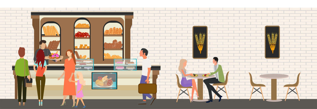 Vector of people staying in line shopping in the bakery
