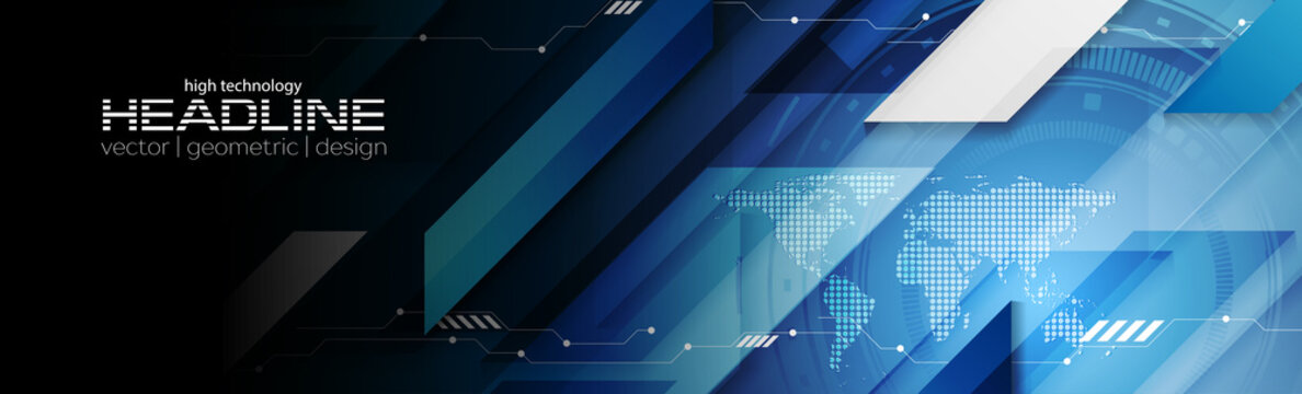 Abstract dark blue technology web header banner. Vector geometric background design with HUD gear and world map. Futuristic illustration