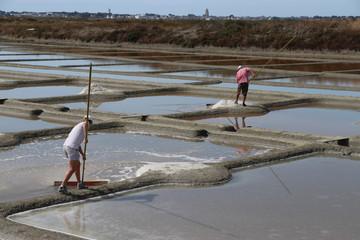 Salzgewinnung aus Meerwasser bei Guerande, Bretagne